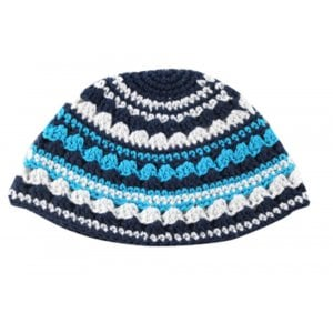 Frik Kippah with Light Blue, Gray and Black Stripes