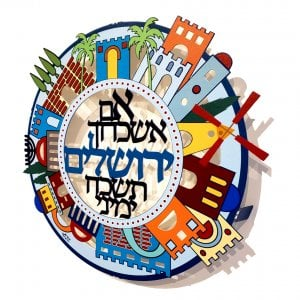 Dorit Judaica Colorful Jerusalem Images Wall Plaque - If I forget Jerusalem