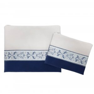 Ronit Gur Impala Tallit Bag Set, Blue and Off-White with Decorative Ribbon