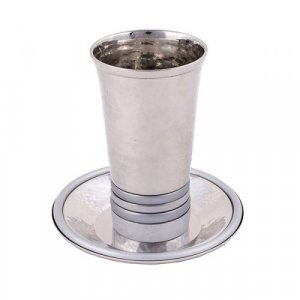 Yair Emanuel Hammered Kiddush Cup and Saucer with Rings - Silver