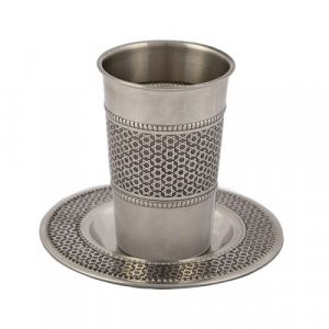 Yair Emanuel Stainless Steel Kiddush Cup and Saucer - Star of David