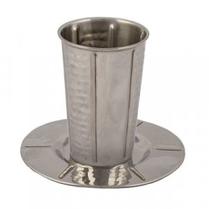 Yair Emanuel Stainless Steel Kiddush Cup and Saucer - Vertical Hammered Stripe