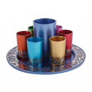 Yair Emanuel Colored Kiddush Cup and Small Cups with Tray - Cutout Pomegranates