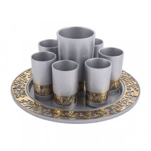 Yair Emanuel Silver Kiddush Cup, Small Cups and Tray - Gold Cutout Pomegranates