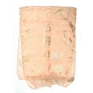 Pastel Peach Chiffon Head Scarf - Gold Ten Commandments Design