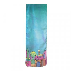 Yair Emanuel Hand Painted Narrow Pure Silk Scarf - Jerusalem on Turquoise