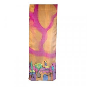Yair Emanuel Hand Painted Narrow Pure Silk Scarf - Jerusalem on Honey-Brown