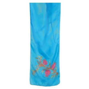 Yair Emanuel Hand Painted Turquoise Narrow Pure Silk Scarf - Red Pomegranates