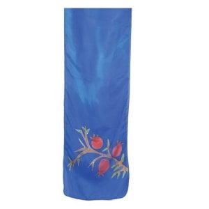 Yair Emanuel Hand Painted Blue Narrow Pure Silk Scarf - Red Pomegranates