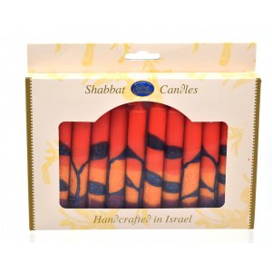 Decorative Safed Shabbat Candles - Red Orange & Purple