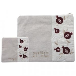 Off-White Linen Tallit and Tefillin Bag Set with Embroidered Maroon Pomegranates