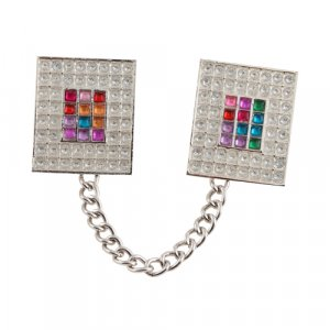 Tallit Prayer Shawl Clips, Nickel Plated - Colorful Breastplate Image