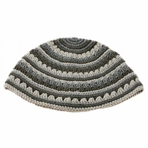 Hand Made Frik Kippah with Gray Stripes