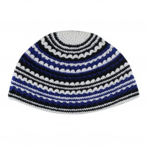 Hand Made Frik Kippah with White, Blue and Black Stripes