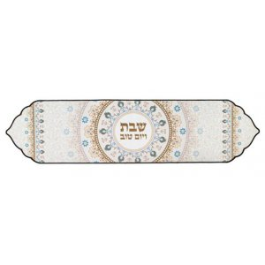 Heat-proof Fabric Shabbat Table Runner, Brown and Blue - Pomegranates
