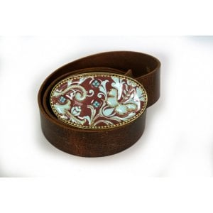 Belt with Maroon and Blue Paisley Buckle by Iris Design