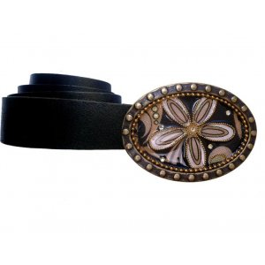 Belt with Flower Design Buckle by Iris Design