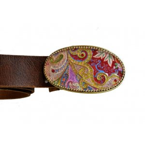 Woman's Belt with Colorful Paisley Design Buckle by Iris Design