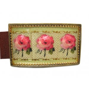 Woman's Belt with Pink Roses Design Buckle by Iris Design