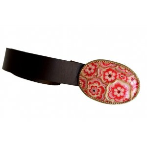 Woman's Belt with Oval Pink Flower Design Buckle by Iris Design