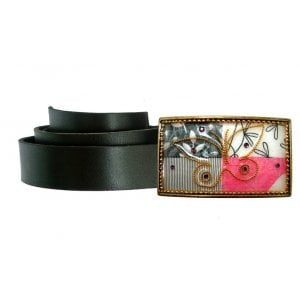 Woman's Belt with Butterfly Leaf Design Buckle by Iris Design