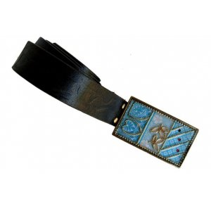 Woman's Belt with Turquoise Flower Design Buckle by Iris Design