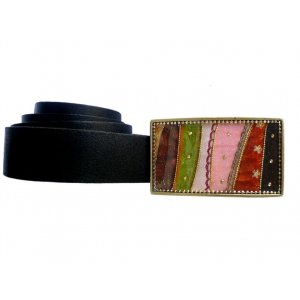 Woman's Belt with Stripe Pop Art Design Buckle by Iris Design