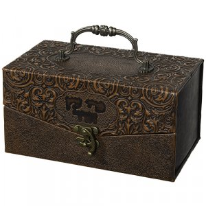 Faux Leather Brown Chest Etrog Box with Ornate Design - Hebrew wording