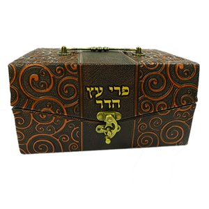 Faux Leather Brown Chest Etrog Box with Ornate Metal Clasp - Hebrew wording
