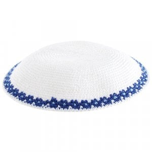 White DMC Knitted Kippah with Elegant Thin Blue Border Design