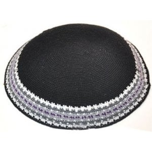 Black DMC Knitted Kippah with Gray and White Border Design