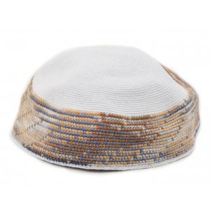 Extra Large White DMC Knitted Kippah with Gray and Light Blue Border Design