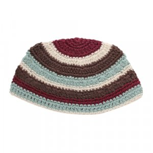 Frik Kippah in Maroon, Light Blue and Brown Stripes