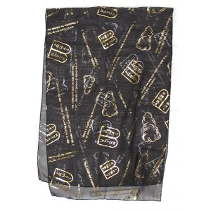 Jet Black Chiffon Head Scarf – Gold Ten Commandments Design