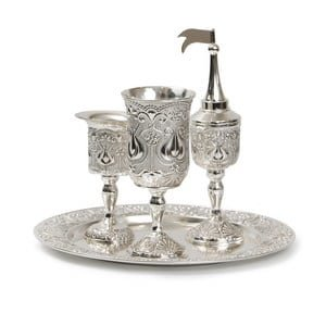 Silver Plated Four-Piece Havdalah Set - Filigree Pomegranate Design