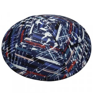 Lively Blue and Red Paint Brush Design Fabric Kippah Yarmulke