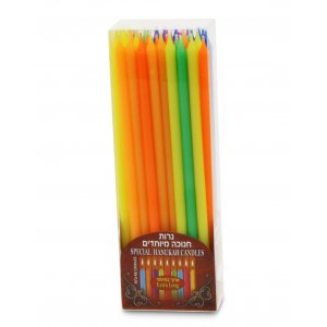 Hanukkah Candles in Assorted Colors, Extra Long - Box of 45