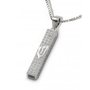 Small Square Mezuzah Necklace Pendant in Sterling Silver