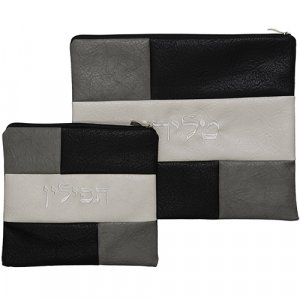 Faux Suede Tallit and Tefillin Set – Black, Gray and Off White Design
