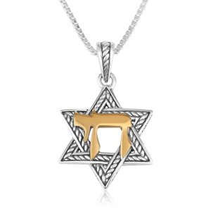 Pendant Necklace, Star of David and Chai - Textured Sterling Silver and Gold Plate