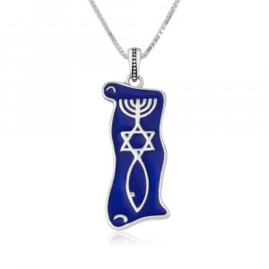 Sterling Silver Pendant Necklace, Blue Enamel - Menorah Star and Fish Symbol