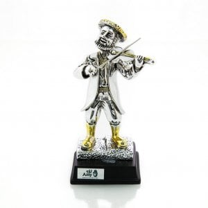 Silver Plated Figurine with Gold Accents on Wood Base - Chassidic Fiddler