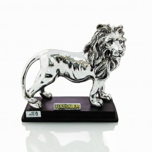Silver Plated Lion of Judah with Gold Accents on Wood Base - Choice of Sizes