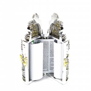 Silver Plated with Gold Accents Cylinder Torah Case with Replica Scroll - Medium
