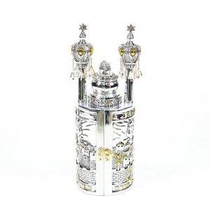 Silver Plated with Gold Accents Cylinder Torah Case with Scroll Replica - Large