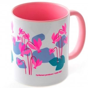 Barbara Shaw Coffee Mug - Pink Cyclamens, Israel's National Flower