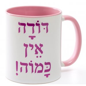 Barbara Shaw Coffee Mug, Amazing Aunt Tribute in Hebrew - Pink