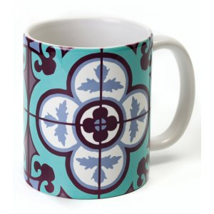 Barbara Shaw Coffee Mug, Oriental Style Tile Design - Blue