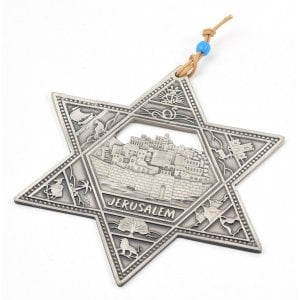 Pewter Star of David Wall Hanging with Twelve Tribes and Jerusalem Images