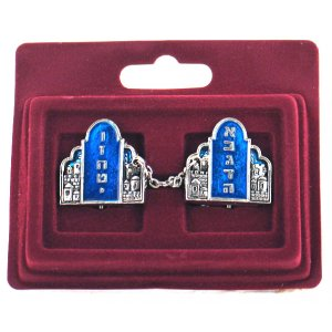 Tallit Prayer Shawl Clips, Blue and Silver Torah Tablets - Nickel Plated